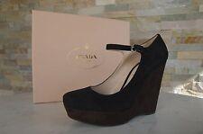 luxus Prada Gr 40 Pumps Plateau Shoes Schuhe schwarz + ebenholz  neu UVP 520€