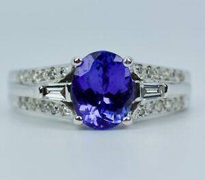 Le Vian 14k White Gold Oval Tanzanite W/ Round & Baguette Cut Diamond Ring