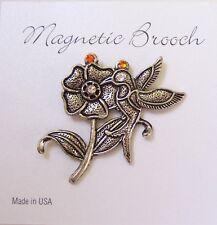Magnetic Brooch Clip Clasp Pin Silver Tone Hummingbird Swarovski Scarves Shawl
