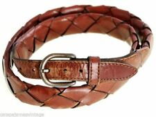 Mens Vintage Belt Leather Rust Brown Braided Size M