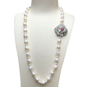 Nice 10~12mm freshwater pearl Natural white Baroque necklace 60+4cm AAA+ 158