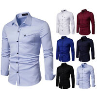 Men's Business Casual Fashion Pure Color Long Sleeved Single Breasted Shirts Top
