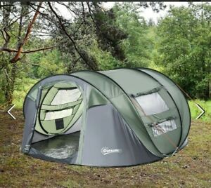 = 4-5 Person Pop-up Camping Tent Waterproof Family Tent Grey 3:21