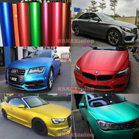 "12"" x 60"" - 10 Colors Car Satin Matte Metallic Chrome Vinyl Wrap Sticker Film CF"