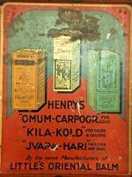 VINTAGE OLD HENRY'S LITTLE ORIENTAL BALM ADV. IRON TIN BOX, COLLECTIBLE