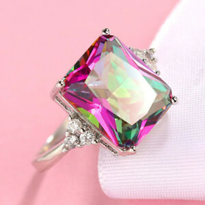 20.5 Cts Huge Rectangle Rainbow Mystic Fire Topaz Gems Solid Silver Ring Sz 6-10