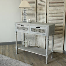 Vintage White Style Washed Living Console Table Storage Unit