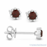 0.36 ct Round Cut Red Garnet & Diamond Pave Baby Stud Earrings in 14k White Gold