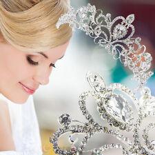 Silver Vintage Bridal Princess Austrian Crystal Tiara Wedding Crown Veil Hair