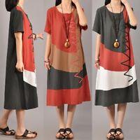 UK STOCK Women Ladies Splice Summer Beach Short Sleeve A-line Midi Dress Kaftan