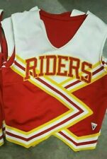 "Vintage Varsity Cheerleader Spirit Squad Top ""RIDERS"" White Yellow Red Size 38"
