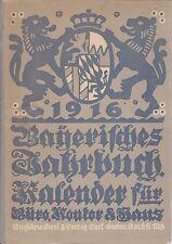 Bayrisches Jahrbuch, 29. Jahrgang, Kalender für Büro, Kontor und Haus, 1916