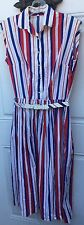 Vintage 50s Dress S Red White Blue Striped Patriotic Rockabilly Pinup Small