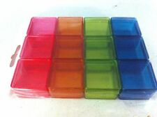 Color Small Plastic Storage Container Box Square Shape 12 pcs,Body and Lid