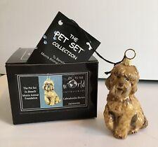 Brown Labradoodle Dog Joy To The World Glass Christmas Ornament Decoration Nib