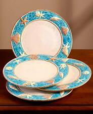 The Lakeside Collection Set of 4 Coastal Cottage Dinner Plates