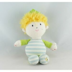 Doudou garçon blond prince roi bleu vert couronne LUMINOU -