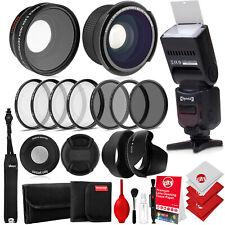 Opteka 52mm 0.43X HD Wide Angle and 0.35X HD Fisheye Lens w/ Accessories Bundle