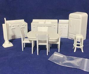 Large Marx White Kitchen Set Vacuum Locker more Dollhouse Furniture 10+pc Lot