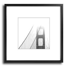 Golden Gate - 21x21 Framed Black and White Fine Art Print, Black Frame