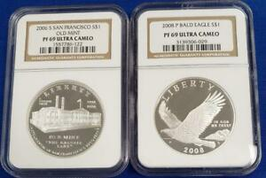 2 NGC PF69 Ultra Cameo US $1 Silver Comm 2006-S SanFran 2008-P Bald Eagle L10027