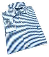 Ralph Lauren Men's Regular Fit Formal Shirt Easy Care in Blue White Stripe