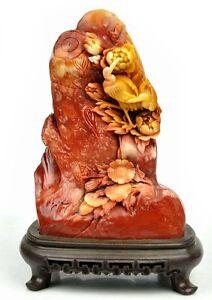 Natural ShouShan Stone Bird Flower Statue Sculpture /Agalmatolite Carving