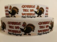 "CLEARANCE Grosgrain Ribbon - 3 Yards $1.47 Thanksgiving Turkey Gobble Wobble 1"""