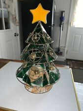 This The Season 15� Tree Slag Stained Glass Votive Tealight Candle Holder Exc