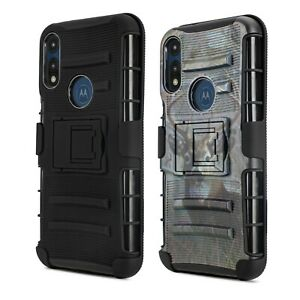 For Motorola Moto E7/E 2020 Case Shockproof Stand Clip Holster with Temper Glass