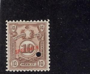 Peru 1921, 10c Postage Due, American Bank Note Co. SPECIMEN overprint. NH #J50B