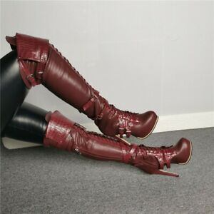 Sexy Womens High Stiletto Buckle Over Knee High Boots Platform Clubwear 35-47