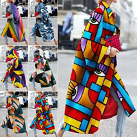Women Oversized Printed Windbreaker Rain Jacket Loose Coat Trench Coat Winter