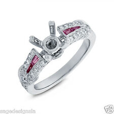 14K White Gold Baguette Pink Sapphire Round Diamond Semi Mount Engagement Ring