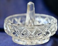 Vintage Retro Diamond Pressed Depression Glass  Ring Holder 8.5 cm
