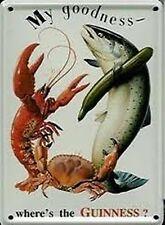 Guinness Lobster Crab Fish miniature metal sign / postcard    (hi)