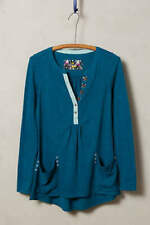 LITTLE YELLOW BUTTON anthropologie Turquoise Calantha Pocket Henley MEDIUM