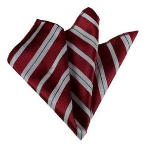 Celino Red with White Stripes Pocket Square for Men Silk Handkerchief for Suits