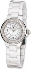 Ladies Charles Hubert White Ceramic Crystal Bezel Watch