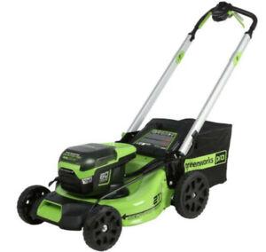 "New Greenworks Pro 60V 60 Volt Self Propelled Cordless Brushless 21"" Lawn Mower"