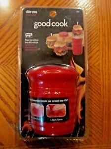 NEW GOOD COOK SLIDER MINI BURGER ADJUSTABLE THICKNESS RED PLASTIC PATTY PRESS