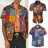Summer Men's T Shirt Floral Print Short Sleeve Loose Shirts Male Beach Boho Tops