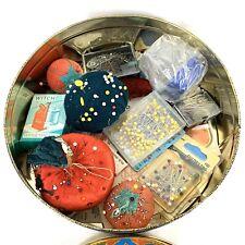Vintage Sewing Tin Lot Pin Cushions Hand Sewing Needles Pins Threaders Singer
