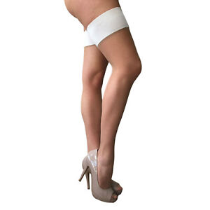 Charnos Bridal Satin Band Hold Ups. Colour: Champagne-Ivory 86% Nylon 14% Lycra