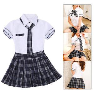 Women Sexy School Girl Plaid Outfit Uniform Dress Fancy Dress Student Costume UK