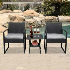 3PC Outdoor Rattan Wicker Furniture Square Tea Table Chair Sofa Cushioned Patio