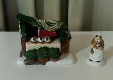 Department 56 Christmas Pudding 2 piece set Old woman & Bakery Stand