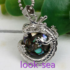 1ps Natural Abalone Pearl Dragon Wrap Bead Charm Pendant Fit Necklace Chain