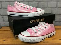 CONVERSE UK 13 EU 31.5 ALL STAR SPARKLE LOW TOP PINK WHITE TRAINERS CHILDRENS LD