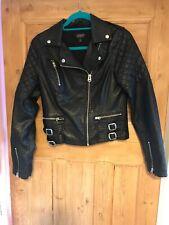 Topshop Faux Leather Black Biker Jacket Size 10